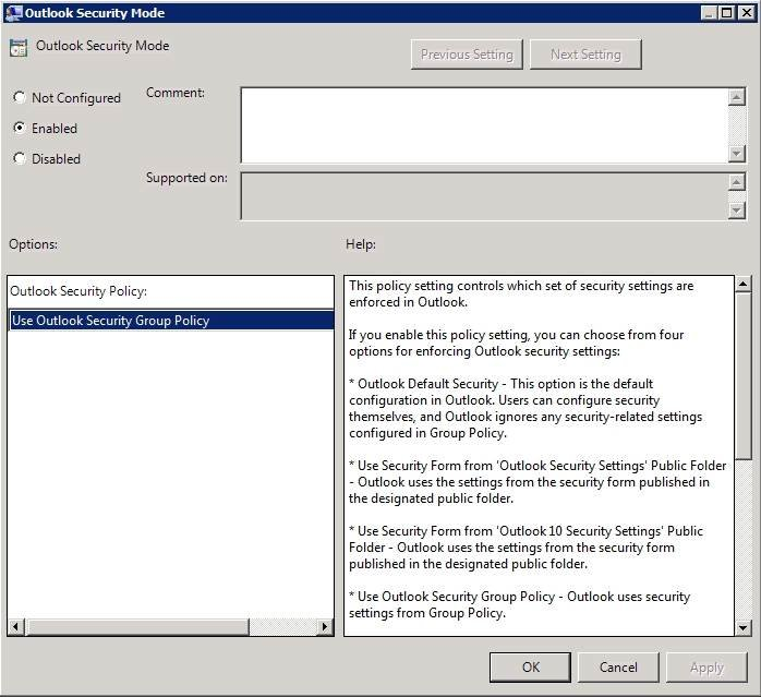 Enable the Use Outlook Security Group Policy setting.