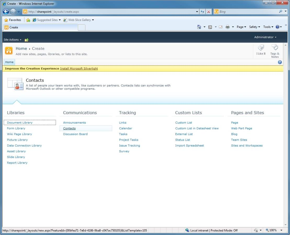 Create a Contacts list in SharePoint 2010.