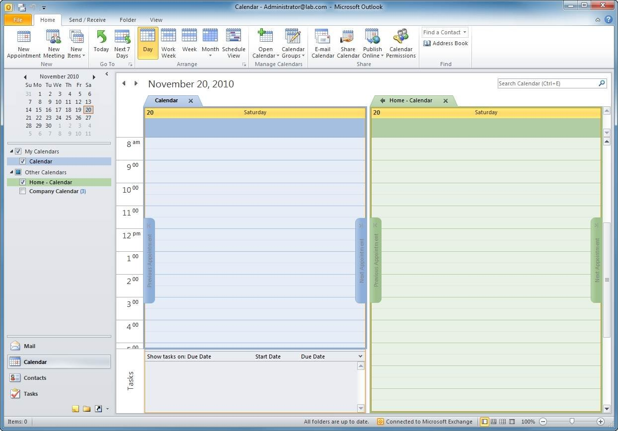 Outlook displayes both the personal and SharePoint 2010 calendars.