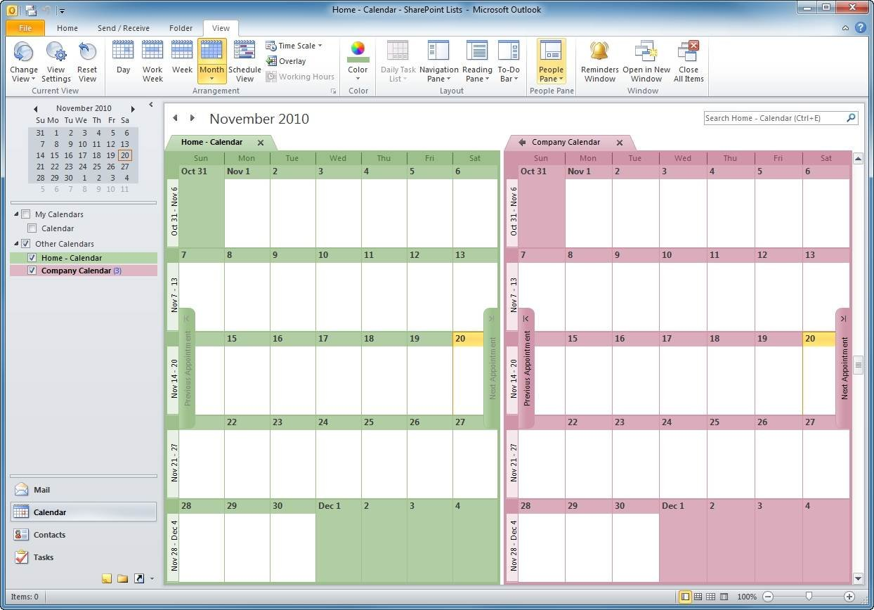 The public folder and SharePoint calendars are now viewable.