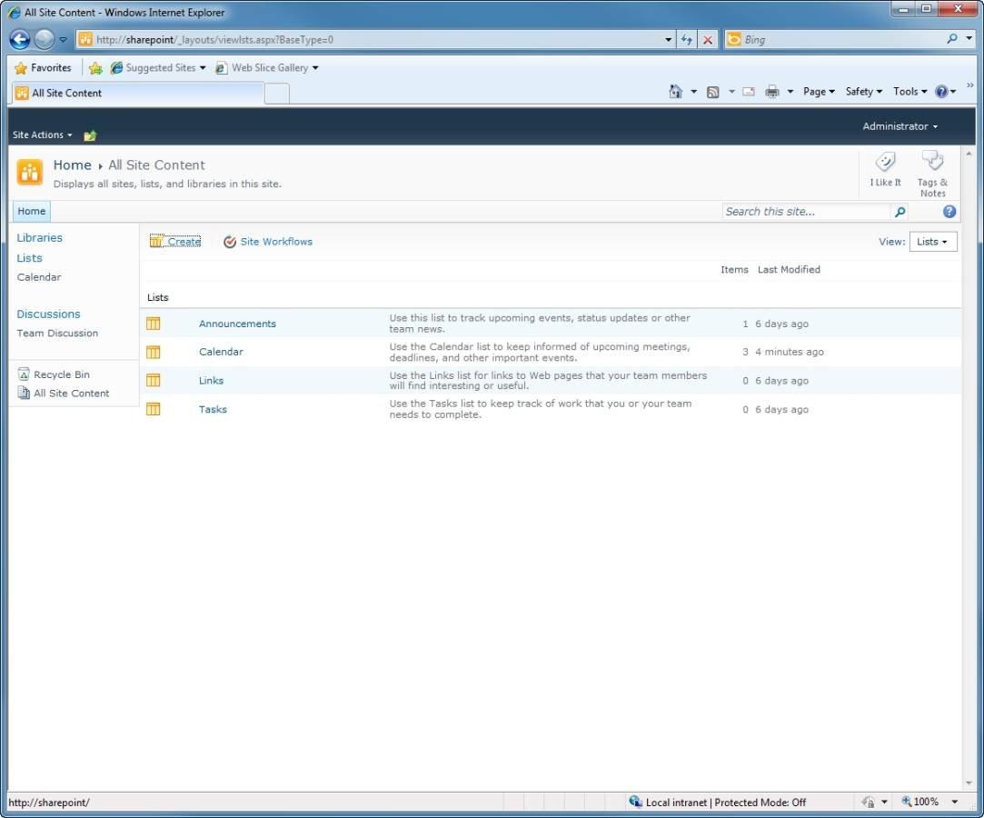 SharePoint 2010's Tasks list.