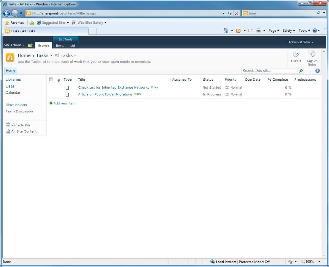 Your public folder task list has been move to SharePoint 2010.