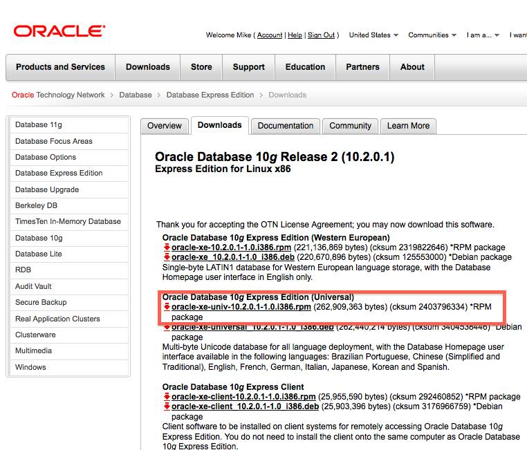 Oracle Database Express Edition 11g Release 2 Downloads