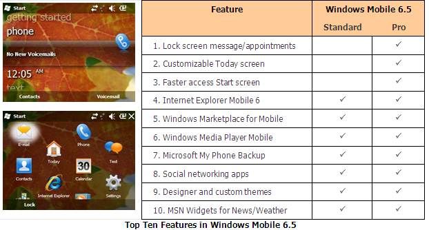 Top 10 Features in Windows Mobile 6.5. Click to view the full-size chart.