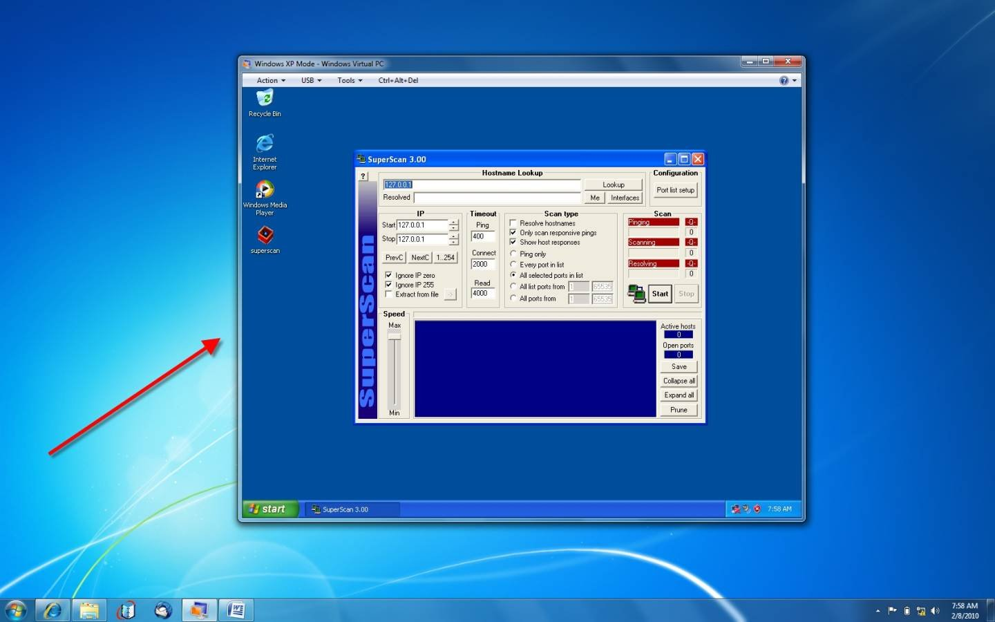 Figure 1 superscan port scanner running in a windows xp mode session