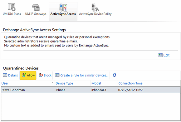 A look at ActiveSync access settings