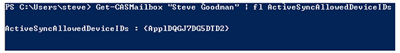 PowerShell code to identify ActiveSync device IDs