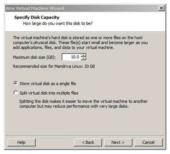 Size the virtual machine's disk in VMware Player