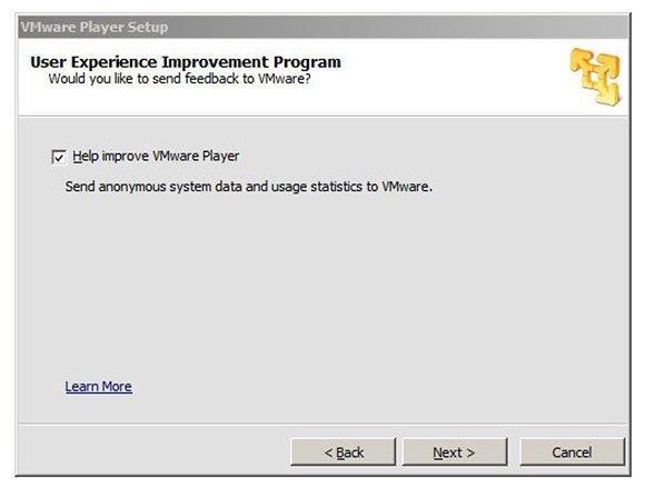 VMware User Experience Improvement Program option