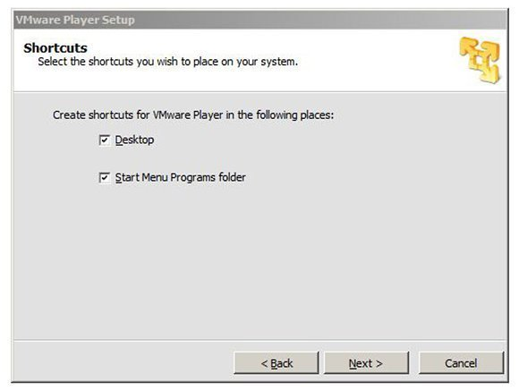Shortcuts to VMware Player 5.0