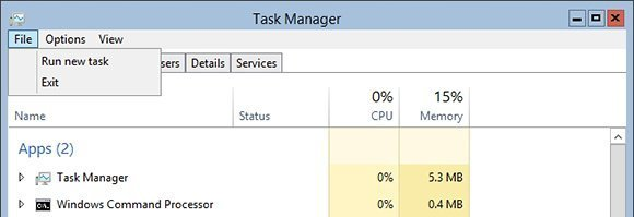 Choose the Run New Task command from the File menu