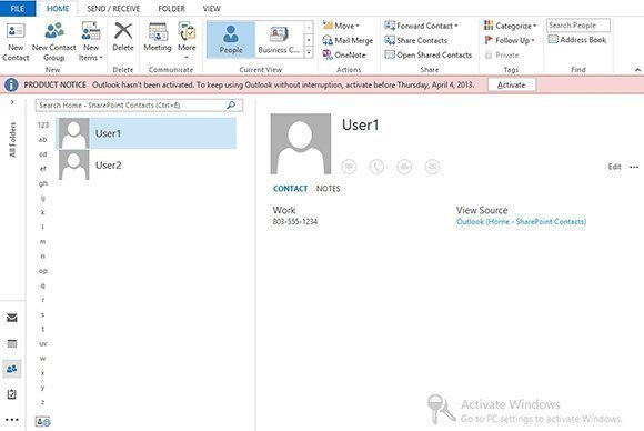 Figure 2. The SharePoint 2013 contacts have been added to Outlook 2013.