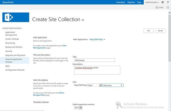 Site collections and eDiscovery Center