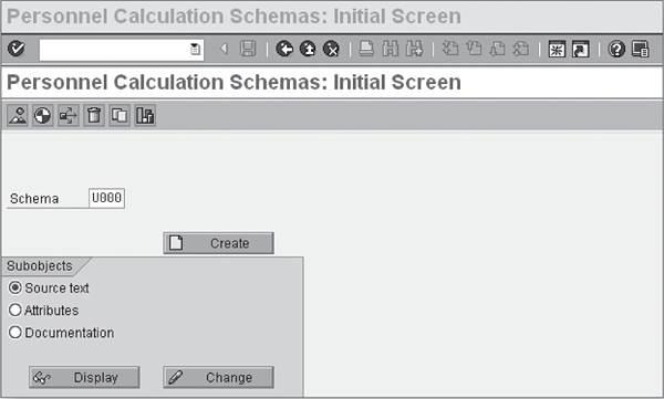 Personnel Calculation Schemas — Initial Screen