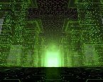 binary code and green light