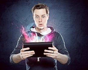 Man holding tablet computer
