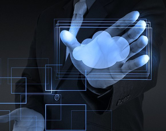 businessman with blue rectangles and a cloud