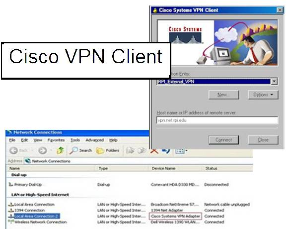 Cisco VPN client screenshots