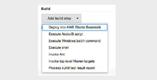 Choose 'Deploy into AWS Elastic Beanstalk' from the 'Add build step' dropdown