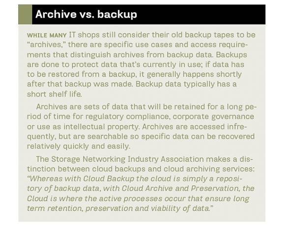 Distinguishing archives from backup