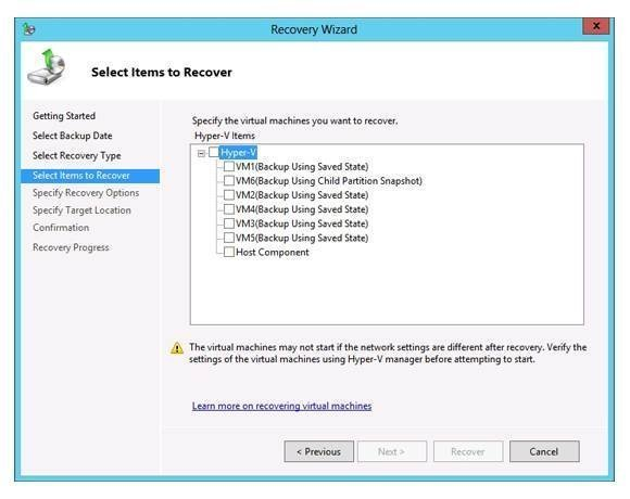 Windows Server Backup 2012 gives you the ability to restore virtual machines
