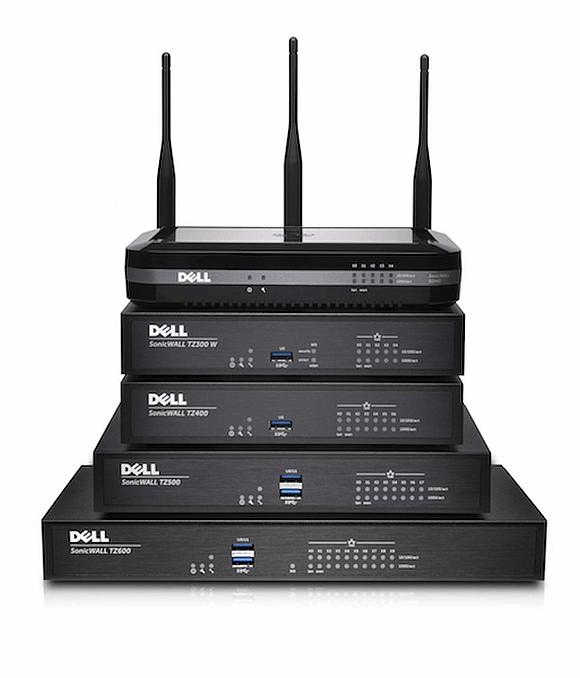 Die Wireless-Modelle (oben TZ 400) ergaenzen die drahtgebundene Dell SonicWALL TZ Series.