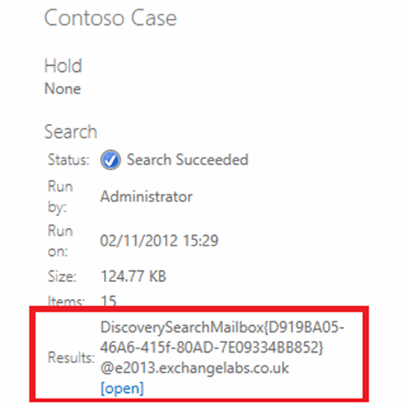 Opening the Discovery Search mailbox