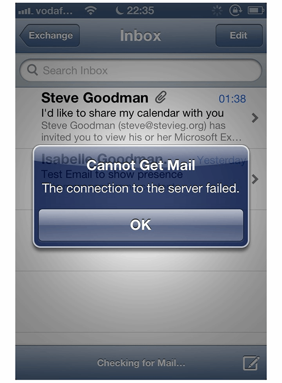 The iOS device user has received an error message