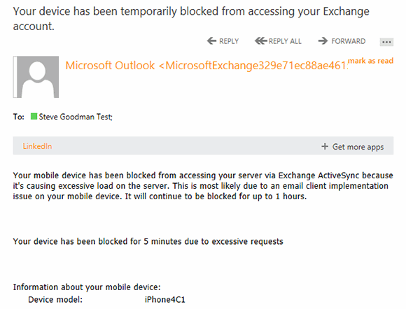 According to the email notification, the offending device has been blocked