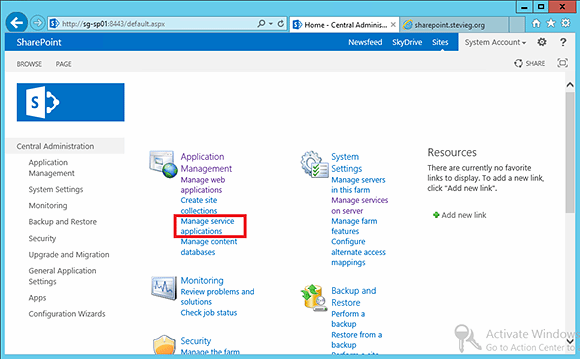 Manage service applications via the SharePoint 2013 Central Administration console.