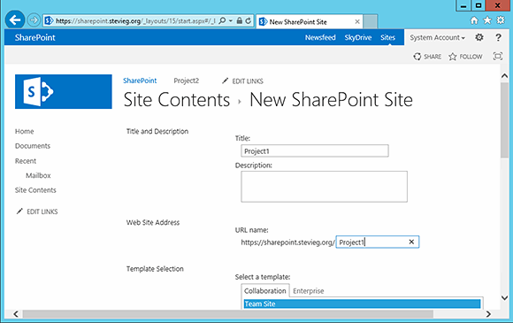Name the new SharePoint 2013 site.