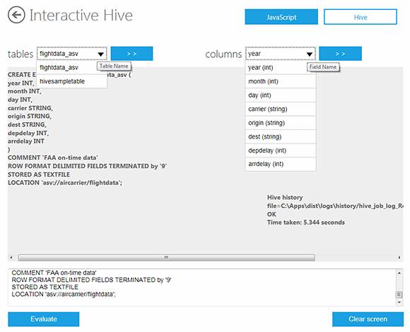 Interactive Preview Hive window