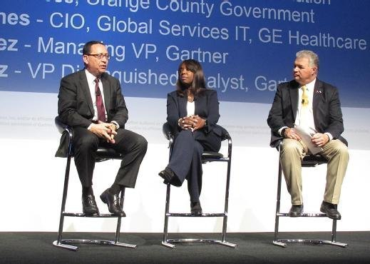 Gartner analyst Gene Alvarez moderates a discussion with CIOs Daphne Jones and Rafael Mena about succeeding as a CIO today at the Gartner Symposium ITxpo in Orlando, Fla.