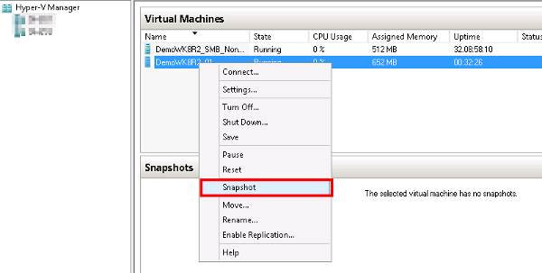 Taking a Hyper-V snapshot within Windows Server 2012