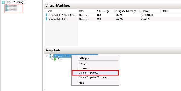 Deleting a Hyper-V snapshot within Windows Server 2012