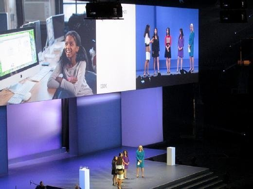 Girls Who Code participants talk with program founder Reshma Saujani and IBM chief executive Ginni Rometty at IBM InterConnect in Las Vegas on March 21.