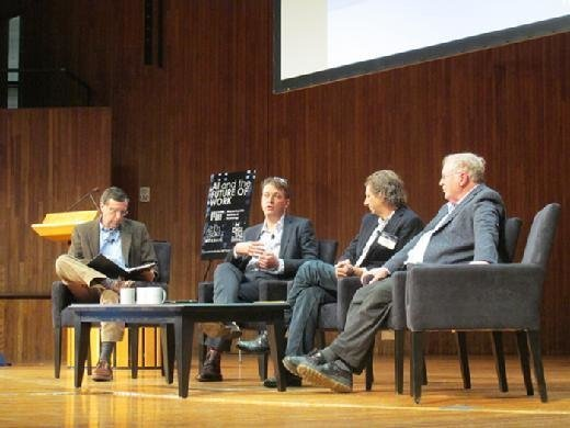 Moderator John Markoff; Simon Thompson, of BT; Josh Tenenbaum, of MIT; and Patrick Winston, of MIT, at AI and the Future of Work.