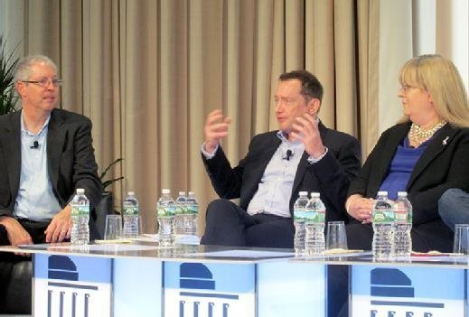 From left to right: Moderator George Westerman, principal research scientist at MIT; David Gledhill, CIO of DBS Bank; and Aflac CIO Julia Davis talk digital transformation at a lunchtime panel at the MIT CIO Symposium.
