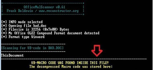 OfficeMalScanner kann ein Makro aus einer Office-Datei extrahieren. (Quelle: Check Point)