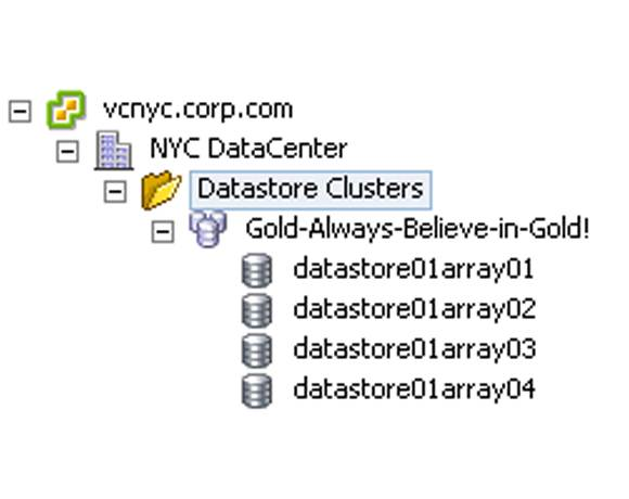 Different data stores in different storage arrays