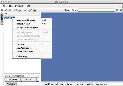 Figure 1: Creating a new project in soapUI.