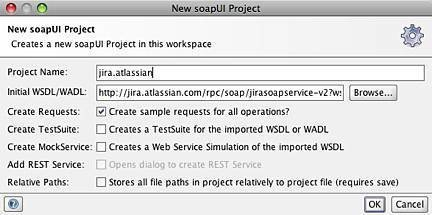 Figure 2: Naming the project and importing the initial WSDL.