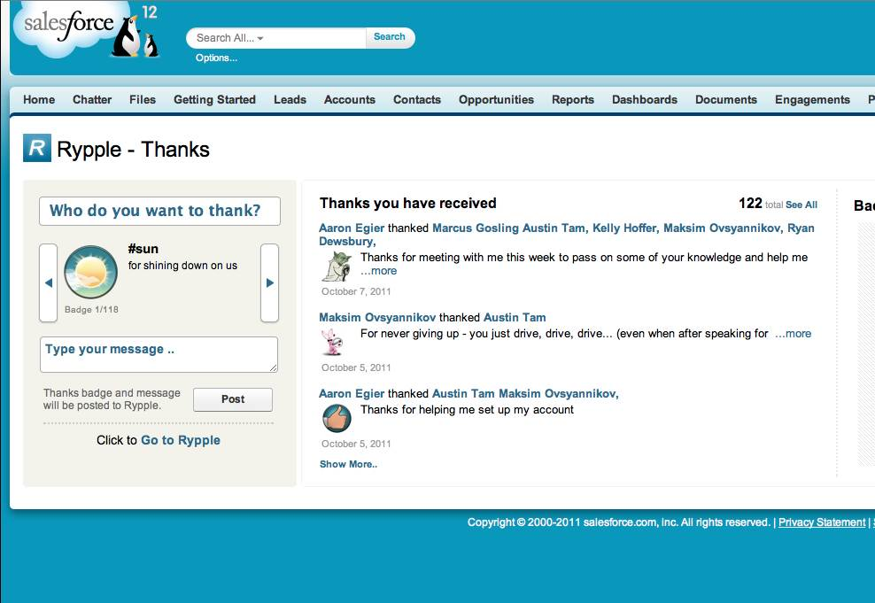 Salesforce Rypple screenshot