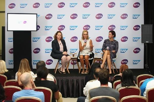 (Left to right) Jenni Lewis, SAP's head of tennis technology; Micky Lawler, WTA president; and Lindsay Davenport, WTA broadcaster, announce SAP Tennis Analytics for media at the WTA Finals in Singapore on Oct. 23, 2017.
