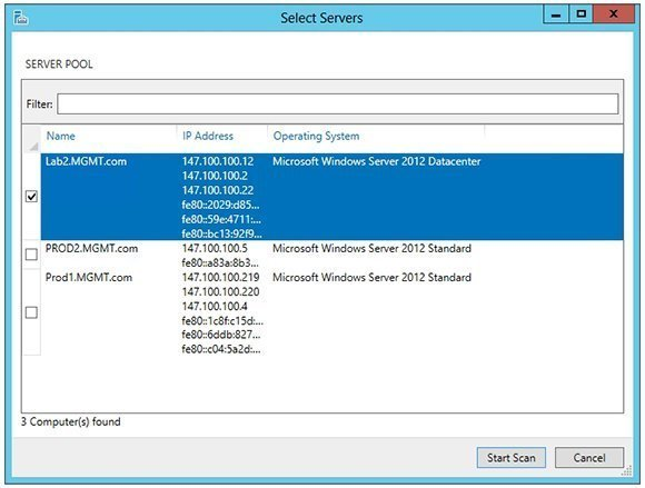Hyper-V BPA scan options