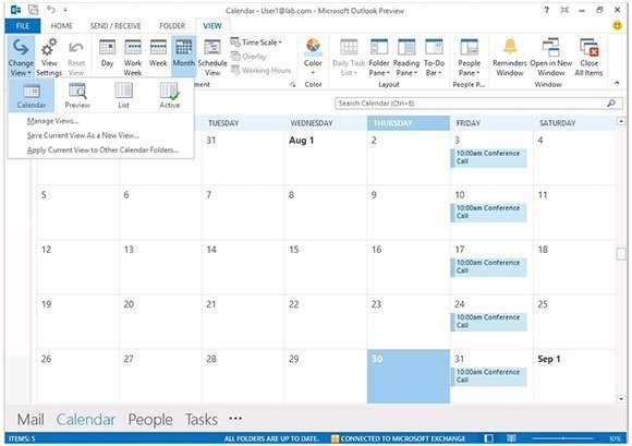 An alternate Outlook 2013 calendar view - A closer look at Outlook ...