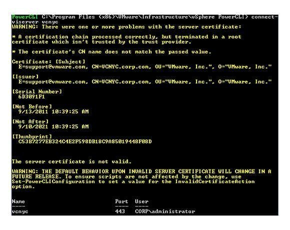 surprise warning message in VMware PowerCLI