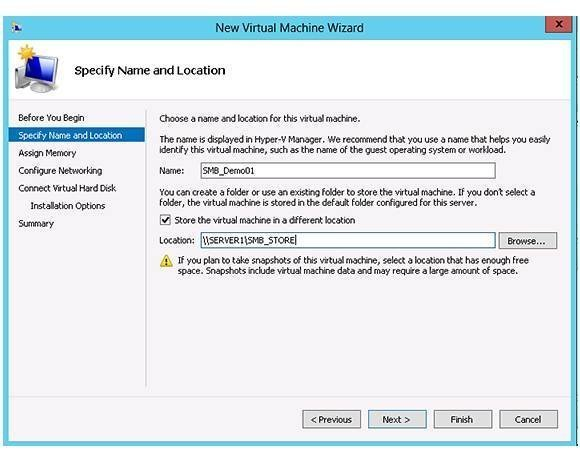 Virtual Machine Wizard specify name and location