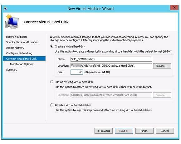 Virtual Machine Wizard connect virtual hard disk