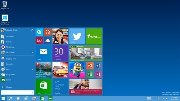 Startmen� in Windows 10